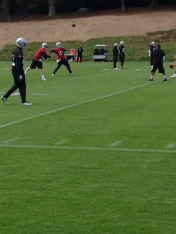Carr tossing it about in practice