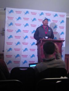 Jim Caldwell addressing the UK media